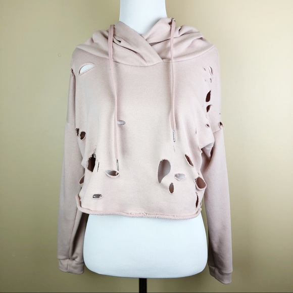 Rue21 Tops - Light Pink Distressed Semi-Crop Hoodie